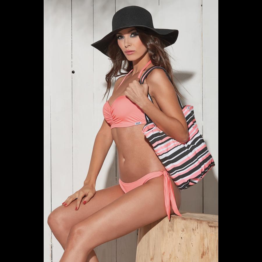 Basic push up bandeau bikini - korall