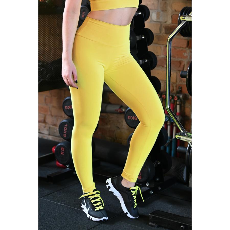 Napsárga basic magasderekú női fitness sport leggings