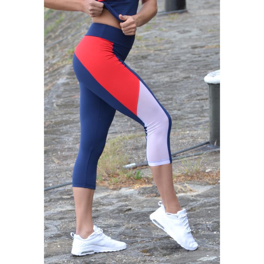 Tricolor tüll betétes női fitness capri - CCK - COCKTAIL SPORT