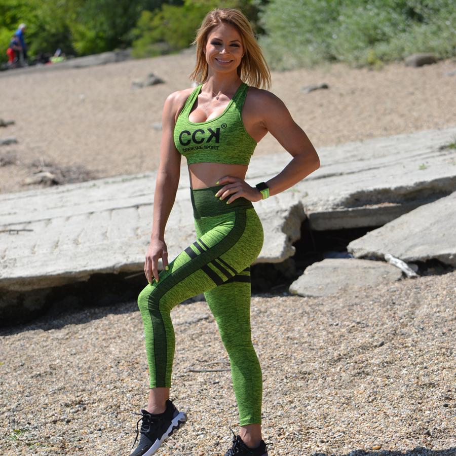 Melange neonzöld magas derekú csíkos leggings + sport top szett