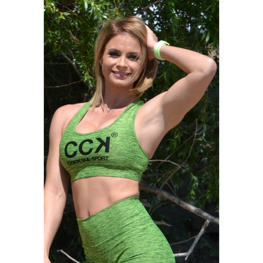 Neon zöld melange női sport top